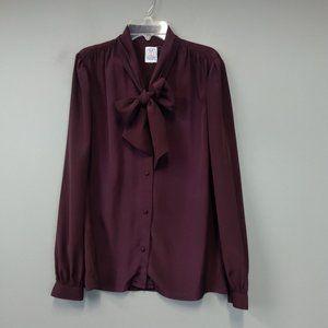 J.G. Hook Wine bow Tie Long Sleeve blouse